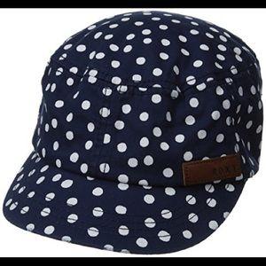 Roxy Navy & White Polka Dot Military Hat